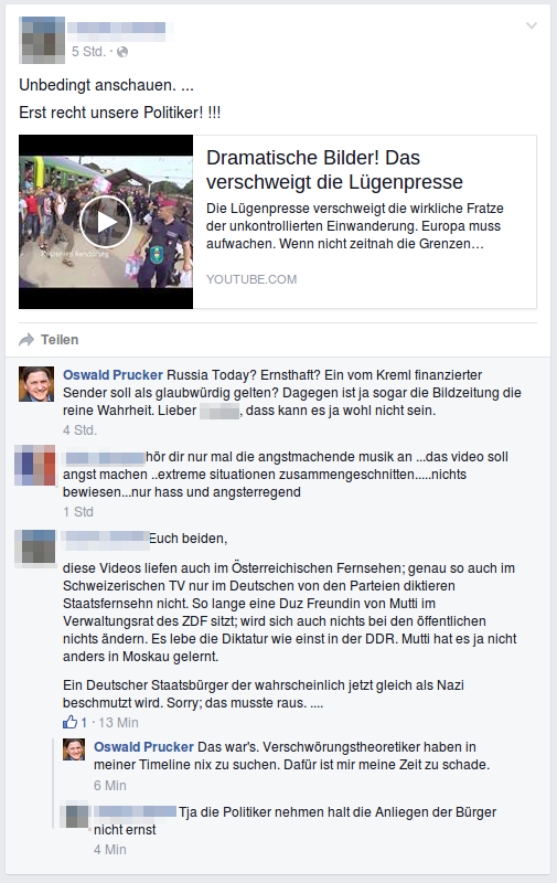 Screenshot Facebook mit Verschwörungstheoretiker.