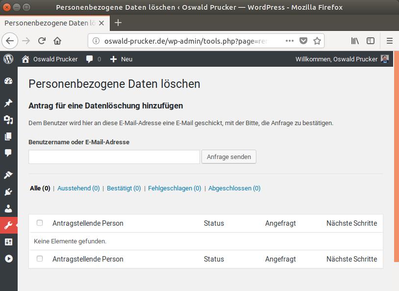 Screenshot: Keine personenbezogenen Daten gespeichert.